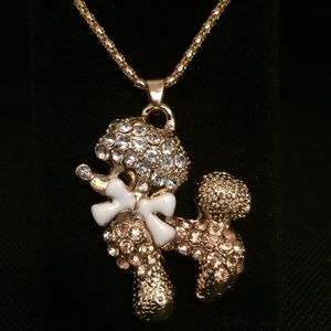 Crystal Bowknot Poodle Sweater Chain Necklace